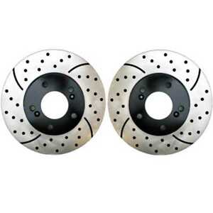 Front Pair 2 Drilled Slotted Brake Rotors 5 Stud Fits 2012 2018 Toyota Avalon