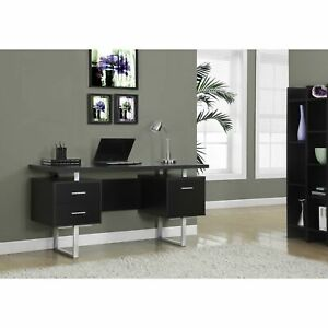 Cappuccino Hollow core Silver Metal 60 inch Office Desk