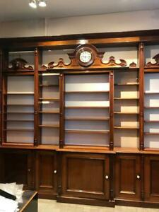 Antique Belgian Pharmacy Drug Store Shelving Counters Bookcases Display Cases