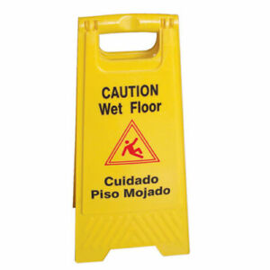 Skilcraft 60085 Wet Floor Caution Sign English spanish Safety Yellow Pack Of 6