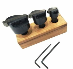 Brand New Set Of 3 Pcs Fly Cutters 1 2 Shank Hss Tool Bit wooden Stand