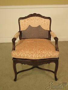 22904e French Louis Xiv Upholstered Cane Back Arm Chair