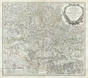 1754 Vaugondy Map Of Counties Of Hainaut And Cambrai Belgium And France