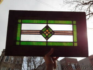 Antique Stained Leaded Glass Transom Window 22 X 13 1925 Green Checkerboard