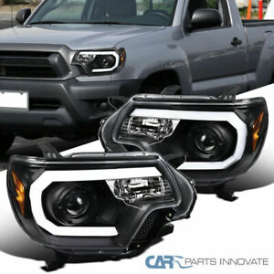 For Toyota 12 15 Tacoma Black Led Bar Projector Headlights Head Lamps Left right