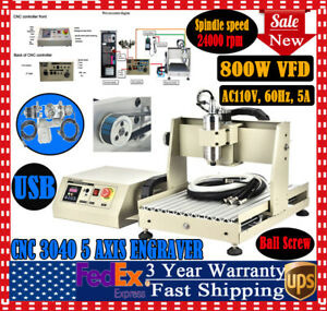 Cnc Router Usb 3040 5axis Engraving Carving Machine Metal Milling Machine 800w