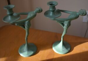 Art Deco Candle Holders Stamped On Base 19 28