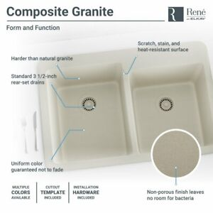 R3 2001 Double Offset Bowl Quartz Sink Two Grids And Matching Colored Flange
