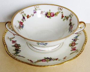 Antique Large Cup Or Bowl Saucer Germany Bavaria Schumann Hand Painted Beaded