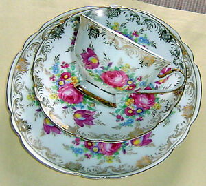 Festive Vintage Cup Saucer Plate Trio Beautiful Florals Gold Adeline Germany