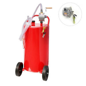 Portable 35 Gallon Gas Can Fuel Caddy Diesel Fluid Transfer Tank W Pump Hose