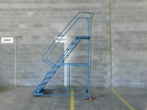 Rolling Steel Ladder 10 Step 130 Inches H T137255
