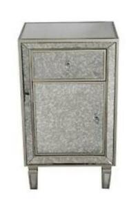 Champagne Wood Accent Cabinet With A Drawer A Door And Antique Mirror Trim