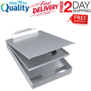 Aluminum Metal Clipboard Case Folder With Storage Contractor Self Locking Latch