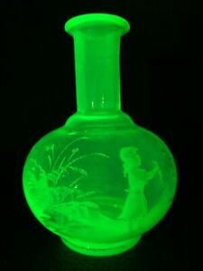 19th Century Victorian Mary Gregory Uranium Vaselin Glass Decanter Scent Bottle