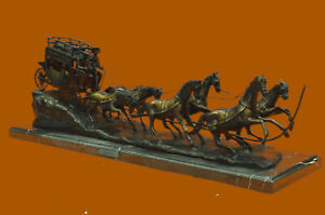 C M Rusell Stage Coach Horse Old West Bronze Sculpture Marble Base Extra Large