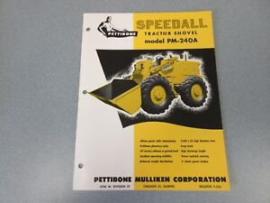Rare Pettibone Speedall Pm 240a Tractor Shovel Sales Sheet