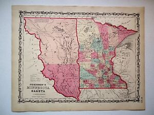 Vintage Authentic 1860 Dakota Territory Map Old Antique Original Johnson Atlas