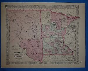 Vintage 1863 Dakota Territory Minnesota Map Old Antique Original Atlas Map
