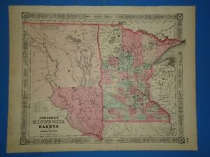 Vintage 1864 Dakota Territory Minnesota Map Old Antique Original Johnson S