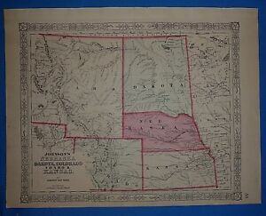 Vintage 1863 Colorado Nebraska Territory Map Old Antique Original Atlas Map