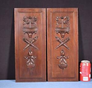 Pair Of Antique Louis Xvi Style French Walnut Wood Panels Salvage