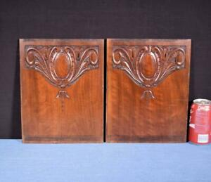 Pair Of Antique French Walnut Wood Carved Panels Salvage