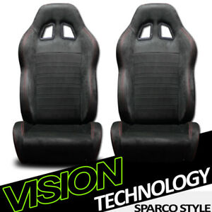 Jdm Sp Sport Blk Suede Red Stitch Reclinable Racing Bucket Seats Sliders L R V28