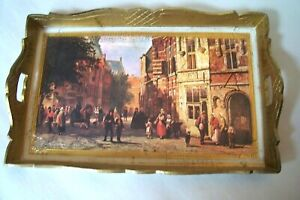 Vintage Florentine Italy Toleware Small Wooden Gold Tray Street Scene Italy
