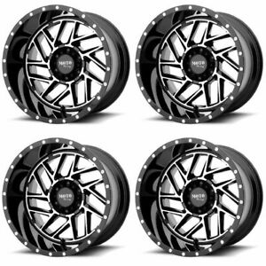 Set 4 20 Moto Metal Mo985 Breakout Black Milled Wheels 20x10 5x5 5 18mm Lifted