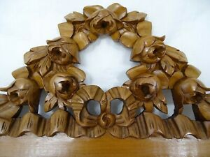 Antique French Hand Carved Walnut Wood Pediment Crest Ribbon Louis Xvi