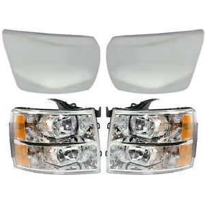 Headlight For 2007 2013 Chevrolet Silverado 1500 Front Lh And Rh Chrome