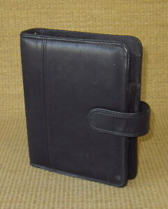 Compact 1 Rings Black Full grain Leather Franklin Covey Open Planner binder