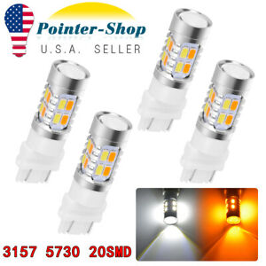 White Amber 3157 Led Drl Switchback Turn Signal Parking Light Bulbs Dual Color