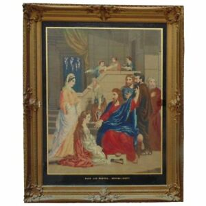 Huge Antique Jesus Christ Needlepoint Religious Picture Wood Frame Needlework