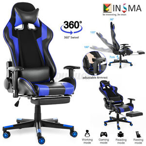 Office Computer Gaming Chair 180 Lying Recliner Adjustable Racing Seat Swivel