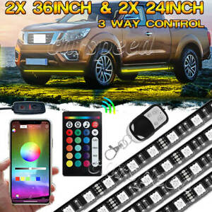 Full Color Led Light Under Car Underglow Underbody Neon Strip Bar Music Control