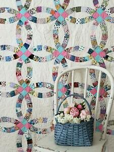 Prints Charming Vintage Whimsy Wedding Ring Quilt Expert Quilting 86x76 Sturdy
