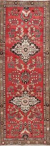 Vintage 9 Ft Red Runner Hamedan Malayer Persian Oriental Hand Made Wool Rug 3x9