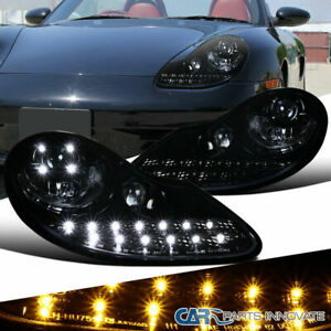 97 04 986 Boxster 97 01 996 911 Carrera Glossy Black Led Projector Headlights