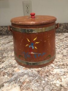 Vintage Wooden Primitive Firkin Sugar Bucket With Bail Lid Swedish