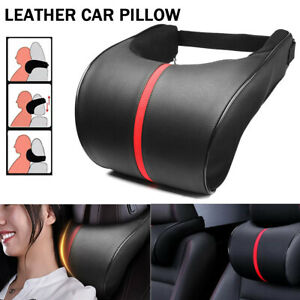 Leather Car Seat Neck Pillow Auto Memory Foam Headrest Travel Cushion Black Red