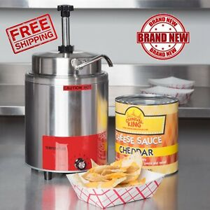 3 5 Qt Electric Countertop Nacho Cheese Sauce Warmer Pump Dispenser 120v