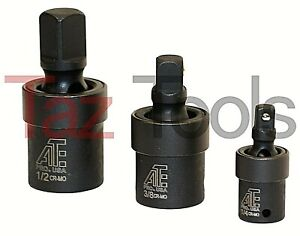 3pc 3 8 1 2 1 4 Dr Impact Universal Joint Swivel Socket Set Cr Mo Ball Type