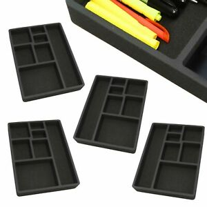 4 Desk Drawer Organizers Insert Black Home Or Office 7 Slot 15 9 X 11 9 New