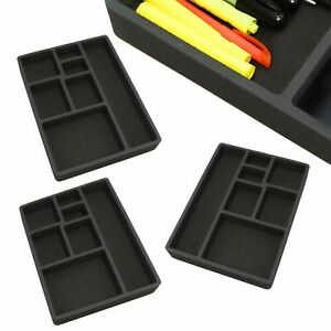 3 Desk Drawer Organizers Insert Black Home Or Office 7 Slot 15 9 X 11 9 New