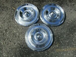 Lot Of 3 Factory 1957 Chrysler New Yorker Saratoga 14 Inch Hubcaps Wheel Covers