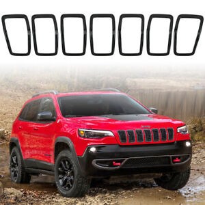 Latest 2019 Jeep Cherokee Gloss Black Front Grille Rings Grill Inserts Cover 7pc