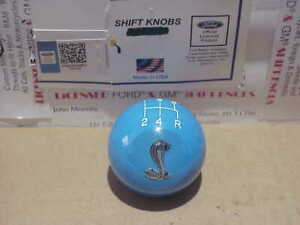 Ford Small Cobra Image 5 Speed 2 Ford Licenced Shift Knob Lite Blue