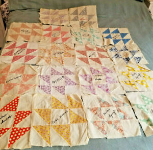 17 1930 Quilt Blocks Cotton Fabric Feed Sack 10 Square Hand Stitched Autograph